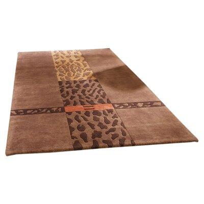 Husain International Impression Hand-Knotted Brown Area Rug