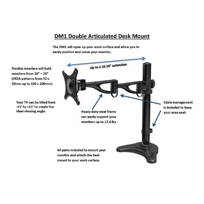 Rocelco Double Articulated Height Adjustable Desk Mount