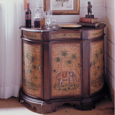 Reith Hand-Painted Curved Palm Credenza 3 Door Accent Cabinet