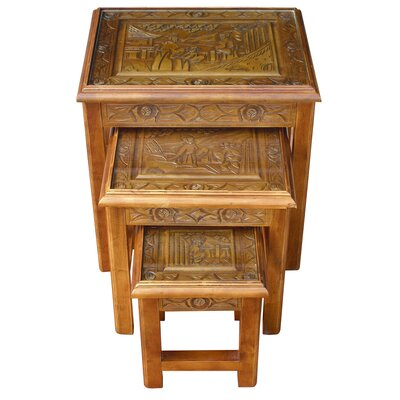 Grand International Decor Chinese Carved 3 Piece Nest of Tables