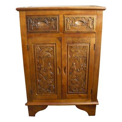 Grand International Decor Hand Carved 2 Drawer Cabinet