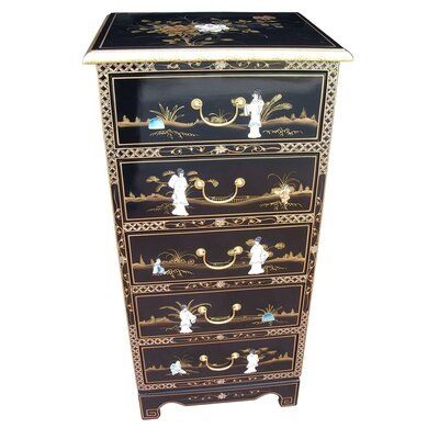 Grand International Decor Mother of Pearl 5 Drawer Chest