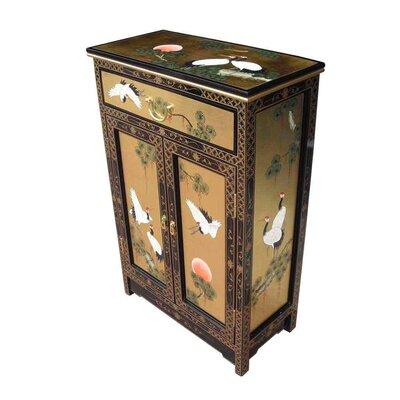 Grand International Decor Gold Leaf 2 Door 1 Drawer Cabinet