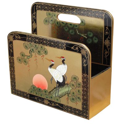 Grand International Decor Gold Leaf Crane Magazine Rack