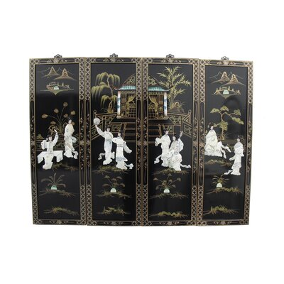 Grand International Decor Mother of Pearl Ladies 4 Piece Original Painting Plaque Set