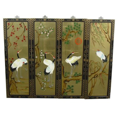 Grand International Decor Gold Leaf 4 Piece Original Painting Plaque Set