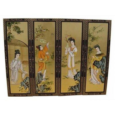 Grand International Decor Gold Leaf Ladies 4 Piece Original Painting Plaque Set