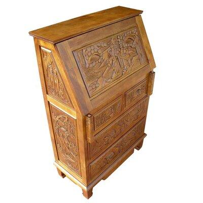 Grand International Decor Chinese Carved Secretary Desk