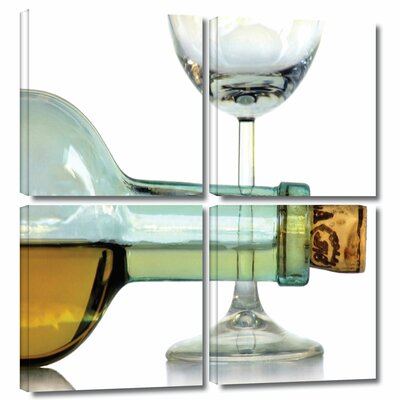 ArtWall 'Bottle Plus Glass' by Dan Holm 4 Piece Photographic Print on Wrapped Canvas Set