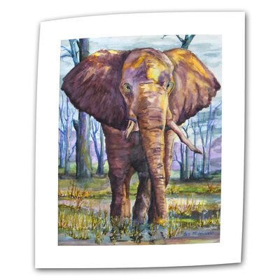 """ArtWall """"Elephant"""" by Dan McDonnell Print of Painting on Canvas"""