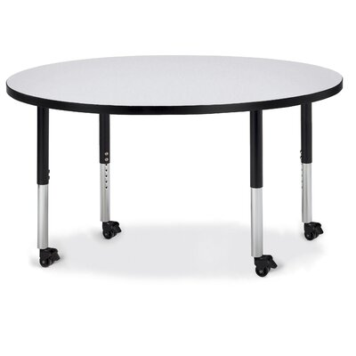 """Berries Circular Activity Table Tabletop Finish: Gray, Side Finish: Black, Size: 48"""" L x 48"""" W"""