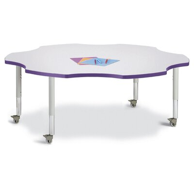 """Berries 60"""" x 60"""" Novelty Activity Table Tabletop Finish: Gray, Side Finish: Purple"""