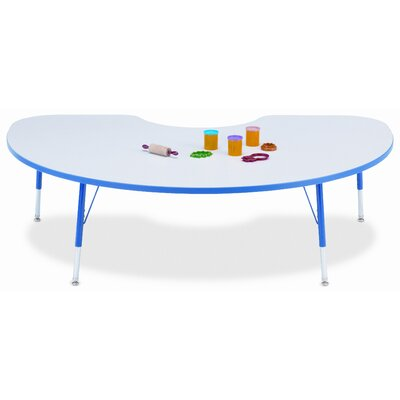 """KYDZ Suite 72"""" x 48"""" Kidney Activity Table Side Finish: Gray / Green, Height: Toddler size: 11"""" - 15"""" H"""