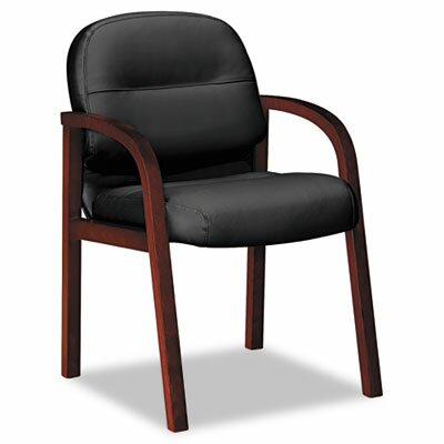Pillow-Soft Series Leather Guest Chair Finish: Mahogany