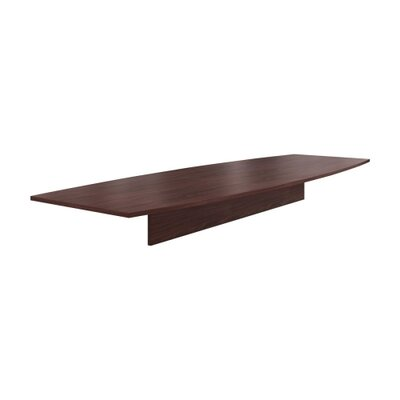 "Preside Boat-shaped Conference Tabletop Finish: Mahogany, Size: 144"" W"