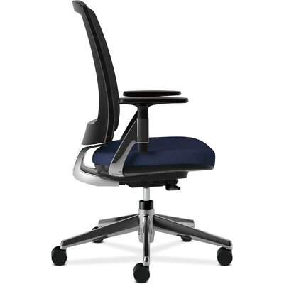 Lota High-Back Mesh Desk Chair Frame Finish: Polish Aluminum, Upholstery: Navy