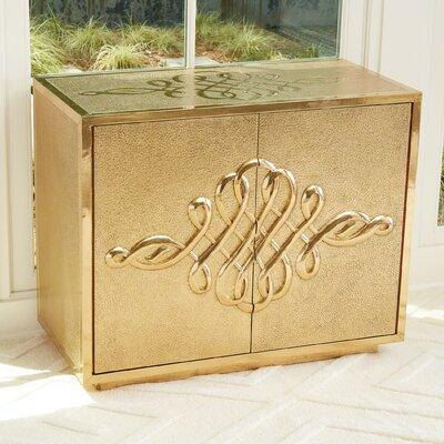 Scroll 2 Door Accent Cabinet Color: Brass