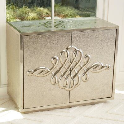 Scroll 2 Door Accent Cabinet Color: Silver
