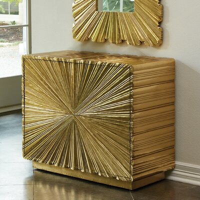 Linen Fold 2 Drawer Accent Chest Color: Brass