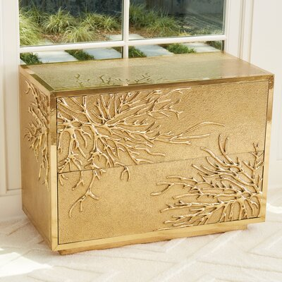 Flower Burst 2 Drawer Accent Chest Color: Brass
