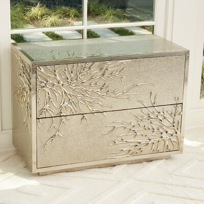 Flower Burst 2 Drawer Accent Chest Color: Silver