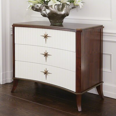 Klismos 3 Drawer Accent Chest Color: Walnut and Ivory