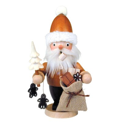 Mini Natural Wood Finish Mini Santa with Tree Incense Burner
