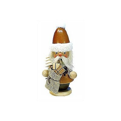 Natural Wood Finish Mini Santa with Bag Incense Burner