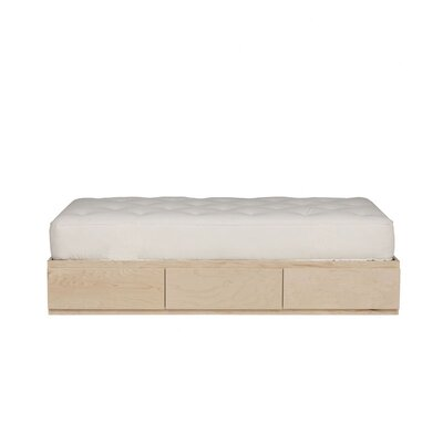Kasie Twin Platform Bed with Storage Wood Veneer: Maple, Color: Amber