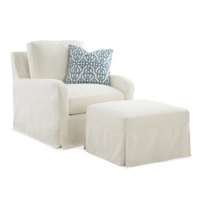 Halsey Box Cushion Ottoman Slipcover Upholstery: Brown Textured Plain