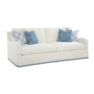 Halsey Box Cushion Sofa Slipcover Upholstery: Brown Stripe
