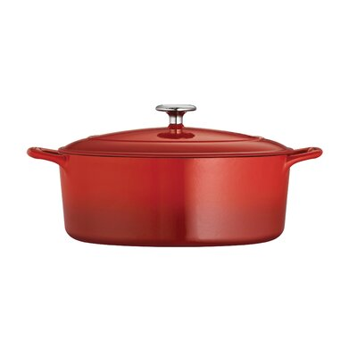 Tramontina Gourmet Enameled Cast Iron 7 Qt. Enameled Cast Iron Oval Dutch Oven