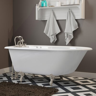 "55"" x 30"" Clawfoot Bathtub Finish: Brushed Nickel"