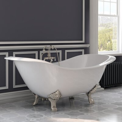 "71"" x 31"" Clawfoot Bathtub Leg Finish: Brushed Nickel"
