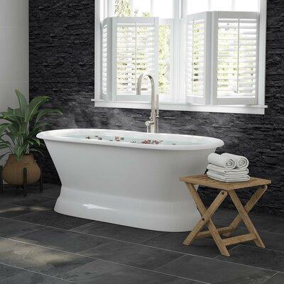 "Double Ended Pedestal Modern 60"" x 30"" Freestanding Soaking Bathtub Finish: Brushed Nickel"