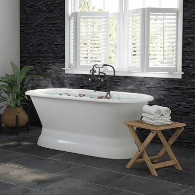 "Double Ended Pedestal 60"" x 30"" Freestanding Soaking Bathtub Finish: Oil Rubbed Bronze"