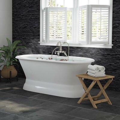 "Double Ended Pedestal 60"" X 30"" Freestanding Soaking Bathtub Finish: Brushed Nickel"