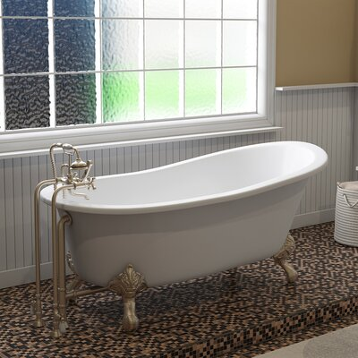"67"" x 30"" Clawfoot Bathtub Finish: Brushed Nickel"