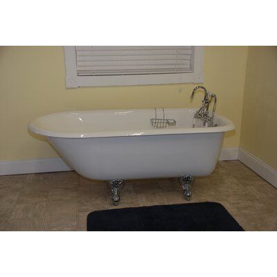 "55"" x 30"" Clawfoot Bathtub Leg Finish: Oil Rubbed Bronze, Faucet Mount: Wall Mount"
