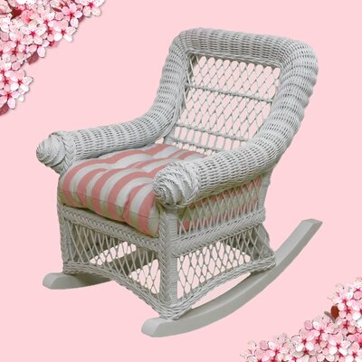 Child's Cotton Rocking Chair Finish: White, Fabric: Blue Stripe