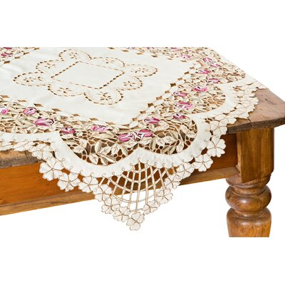 "Rose Garden Table Topper Size: 34"" x 34"""