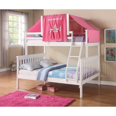 Auvergne Twin over Full Bunk Bed Color: White, Accessory Color: Pink
