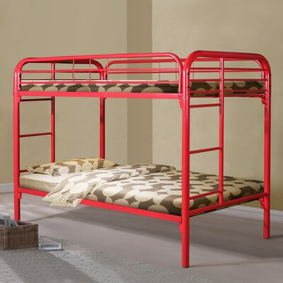 Becket Twin over Twin Slat Bunk Bed Color: Red