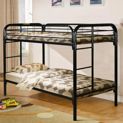 Becket Twin over Twin Slat Bunk Bed Color: Black