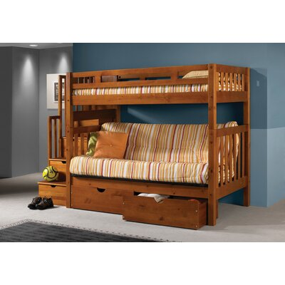 Langley Stairway Loft Bunk Bed with Storage Drawers Size: Twin Over Twin