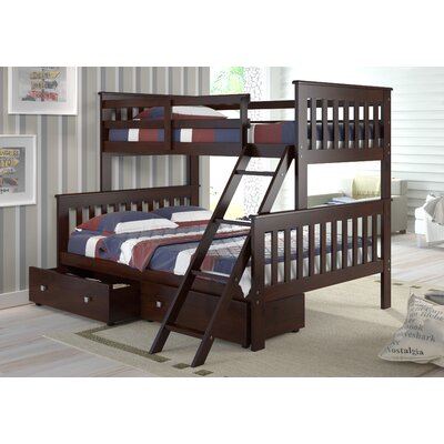 Steam Plant Twin over Full Standard Bunk Bed with Storage Color: Dark Cappuccino