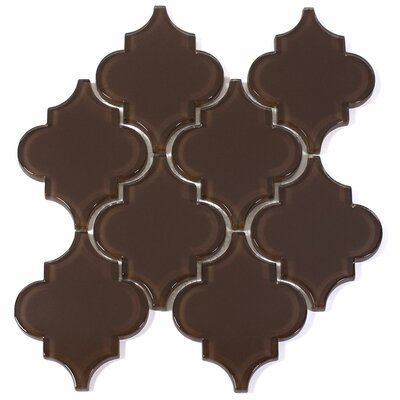 """Water Jet 3.9"""" x 4.7"""" Glass Mosaic Tile in Classic Brown"""