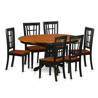 Aimee 7 Piece Dining Set Table Base Color: Buttermilk, Table Top Color: Cherry