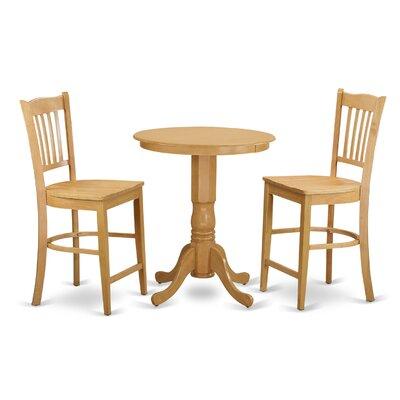 Eden 3 Piece Counter Height Pub Table Set Color: Oak