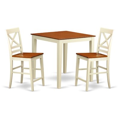 Vernon 3 Piece Counter Height Pub Table Set Color: Buttermilk and Cherry
